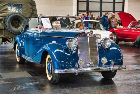 FRIEDRICHSHAFEN - MAY 2019: blue MERCEDES-BENZ 170 W136 1950 cabrio at Motorworld Classics Bodensee on May 11, 2019 in Friedrichshafen, Germany.