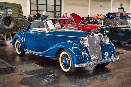 FRIEDRICHSHAFEN - MAY 2019: blue MERCEDES-BENZ 170 W136 1950 cabrio at Motorworld Classics Bodensee on May 11, 2019 in Friedrichshafen, Germany.