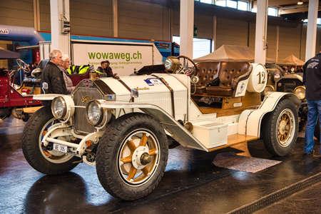 FRIEDRICHSHAFEN - MAY 2019: white AMELIA SIMPLEX cabrio at Motorworld Classics Bodensee on May 11, 2019 in Friedrichshafen, Germany.