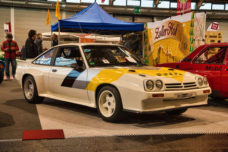 FRIEDRICHSHAFEN - MAY 2019: white yellow OPEL MANTA 400 1984 coupe at Motorworld Classics Bodensee on May 11, 2019 in Friedrichshafen, Germany.