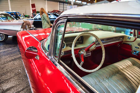 FRIEDRICHSHAFEN - MAY 2019: white leather interior of CADILLAC DE VILLE 1959 coupe at Motorworld Classics Bodensee on May 11, 2019 in Friedrichshafen, Germany.