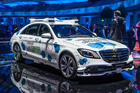 FRANKFURT, GERMANY - SEPT 2019: white MERCEDES-BENZ ROBO-TAXI S CLASS autonomous self driving driverless car, IAA International Motor Show Auto Exhibtion.