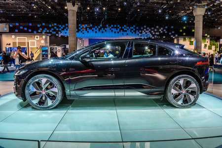 FRANKFURT, GERMANY - SEPT 2019: black JAGUAR I-SPACE is a battery-electric crossover SUV produced by British automotive company Jaguar Land Rover JLR, IAA International Motor Show Auto Exhibtion.