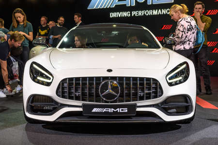 FRANKFURT, GERMANY - SEPT 2019: white MERCEDES-BENZ AMG GT C 63 coupe, IAA International Motor Show Auto Exhibtion. Editorial