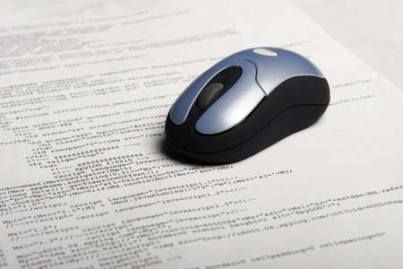 encode: Photo of document with web code & optical mouse