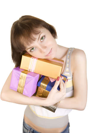 a photo of girl with gifts over white photo
