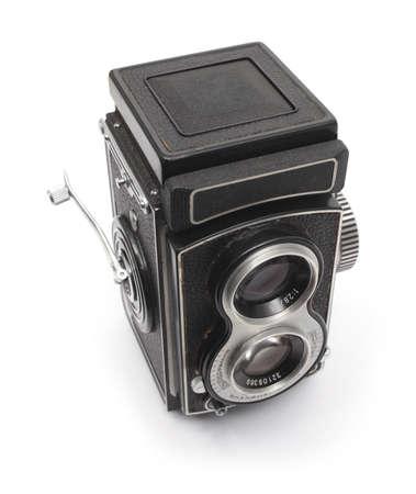 retro photo TLR camera on white photo
