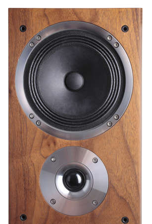 speakers: a photo of wooden-coloured speaker over white