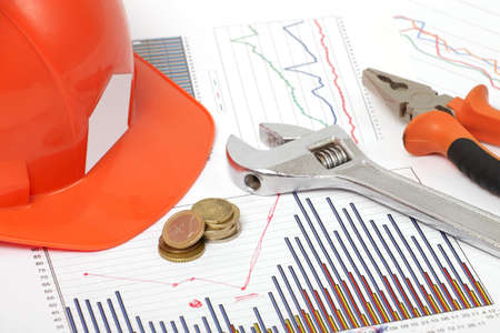 housebuilding: a photo of housebuilding graphics and spanner Stock Photo