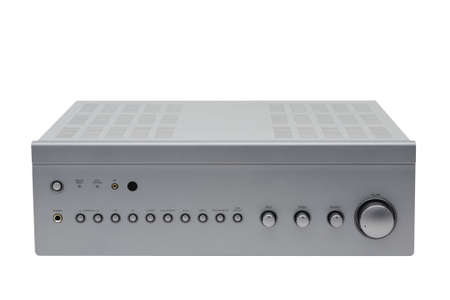 amplifier: a photo of silver stereo amplifier isolated on white Stock Photo