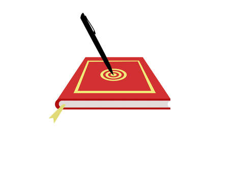categorize: a red diary with a bulls eye target inscription and a pen hitting the target