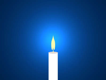 lighten: a lighted candle against a blue background