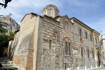 build in: Athens, Greece,  2014 The Byzantine Church of Agios Nikolaos Ragavas build in 9 century A.D Editorial