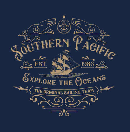 Southhern pacific.Marin vintage t shirt graphic design. Ilustração