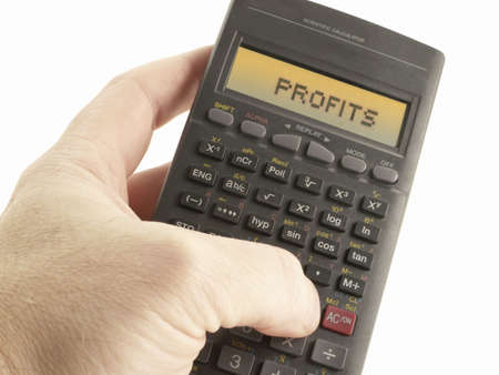 Scientific Calculator with word, Profits on screen.
