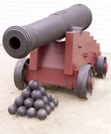 Cannon and cannon balls used to guard 19th century fort.