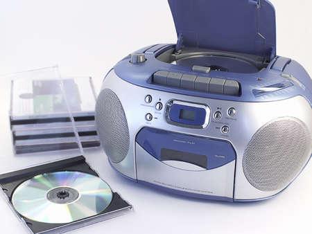 Boombox with music CDs. Standard-Bild