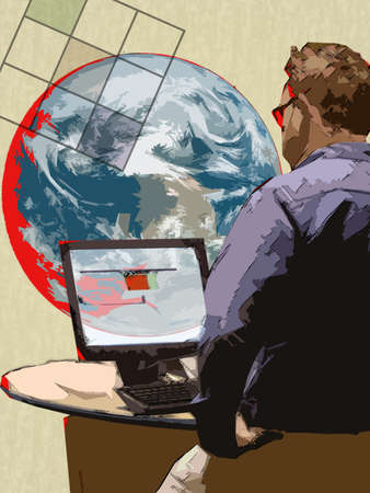 Illustration of man working on computer which is linked to the world.