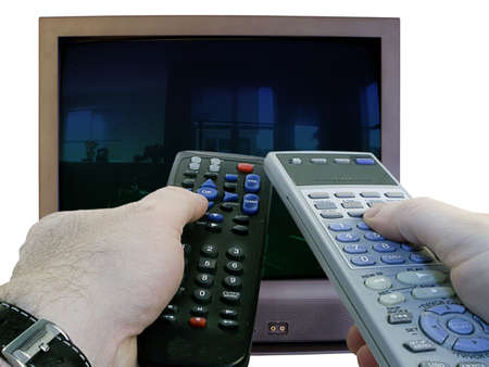 Man's hands hold two remote controls aimed at standard TV set, isolated on white background