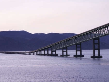 Bridge stretches silently up from far shore in the purple hours of dusk.