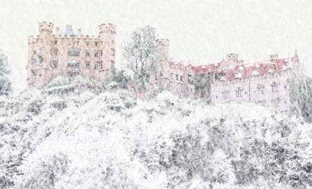 Snowy scene of orange castle in Bavaria on hillside in dead of winter.