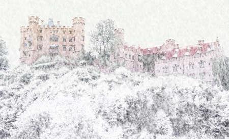 Snowy scene of orange castle in Bavaria on hillside in dead of winter. Stock Photo - 387835