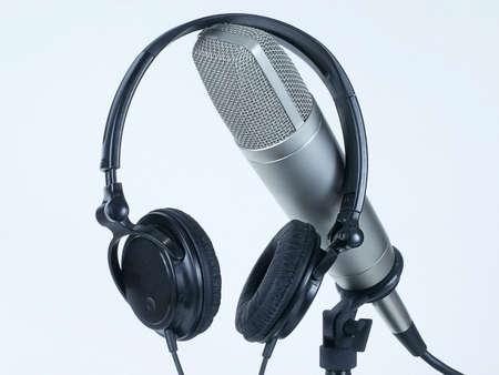 Headphone headset rests on professional studio