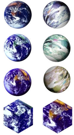 Choose from eight different renderings of the world -- six round and two square, isolated on white for easy cut & paste.