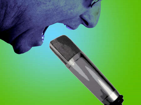 Edgy, photo illustration of middle aged man shouting into studio microphone.