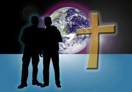 Illustration of two mail friends silhouettes with world and cross in background. Standard-Bild