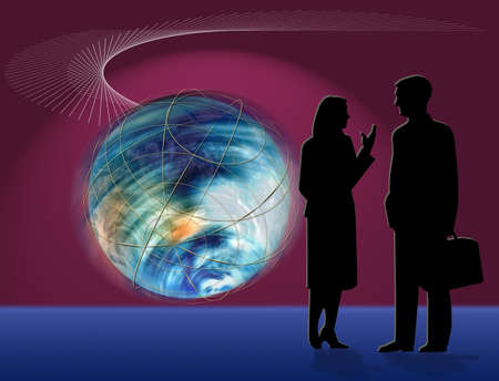 World Business Concept with Illustration of Earth in motion as business man and woman chat.