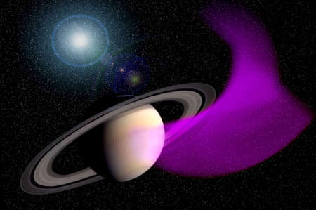 Saturn with purple nebula on star field is featured in this striking science fiction illustration.