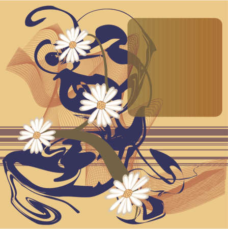 Floral grunge abstract print featuring flowers in square format with designated space for copy, all in vector layers.