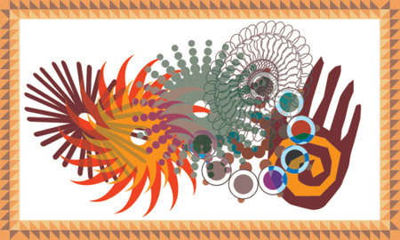 Gears, spirals, and mandalas interact in this colorful collage with both a primitive and modern feel... in vector layers.