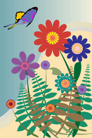 Bright floral garden with butterfly -- vector format. Illustration