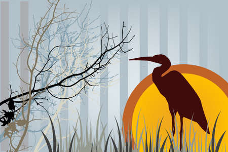 Silhouette of Heron at sunset in tall grass stylized vector illustration.
