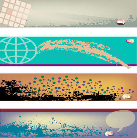 Four modern vector header designs with RSS icons for blogs.