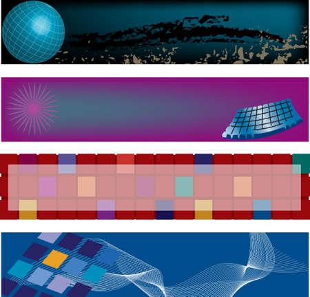 Four modern, high technology, vector header designs. Ilustrace