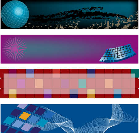 Four modern, high technology, vector header designs. Illustration