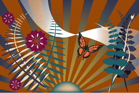 Whimsical modern garden scene with sun rays and butterfly -- vector illustration.