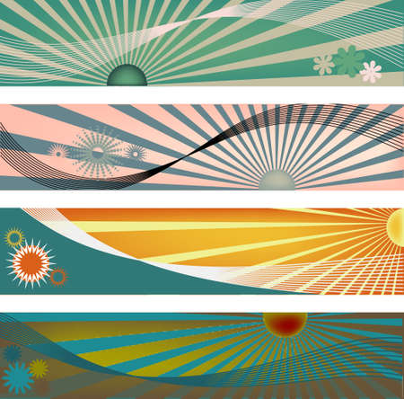 Four modern banner size headers with sun ray elements in vector format.