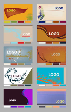 Colorful horizontal business card identity layouts with palettes in vector format.