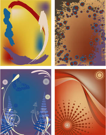 Four modern abstract backgrounds, postcard size in vector format. Illustration