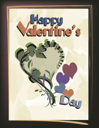 Valentine Design:  Floral theme design with textured background... use text or replace. Illustration
