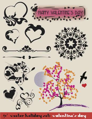 Valentines Set of decorative heart theme elements.  Ilustrace