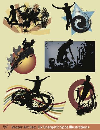 Six modern grunge style illustrations.