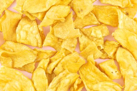 pasta di zucchero: Tagliata di manioca fritta e zucchero rivestimento giallo pasta Archivio Fotografico
