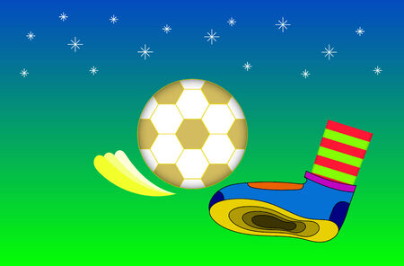 kick ball: Kick ball. The gold football is kicked with colorful footwear. Illustration