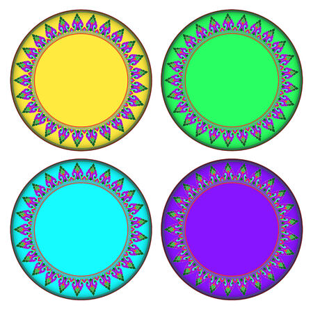 jung: Colorful Thai style Kra Jung circle frame. circle frame can be used for border and background.