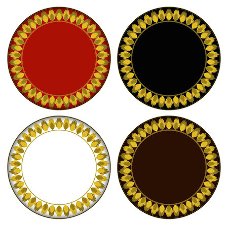 fire circle: Gold fire circle frame circle frame can be used for border and background  Illustration